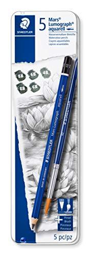 Staedtler Mars Lumograph 100A G6. Pack de 5 lápices acuarelables de distinta dureza, con pincel incluido.