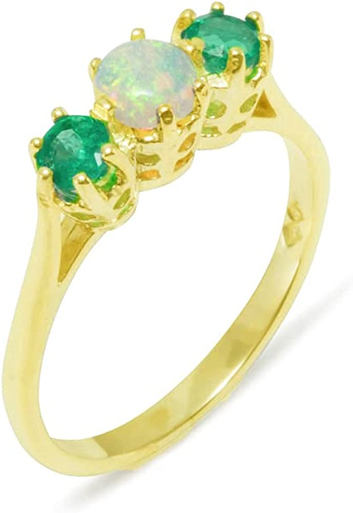 18k Yellow Gold National products Natural specialty shop Opal Emerald Sizes - Ring Trilogy Womens