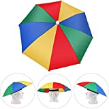 YIQI Paraguas Cabeza Color Arcoiris para el Sol y la Lluvia Sombrero Paraguas Gorra Visera para Pesca con Diadema Ajustable Gorro de Paraguas para Golf Pesca Acampada Playa