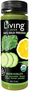 O2 Living Juice Green Vitality Organic Cold-Pressed Shot, No Sugar or Water Added, Made with Kale, Cucumber, Lemon, Celery, Fennel, and Parsley, Loaded with Nutrients, Vitamins, and Minerals (8-Pack)
