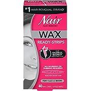Nair Hair Remover Wax Ready-Strips for Face & Bikini, 40 CT