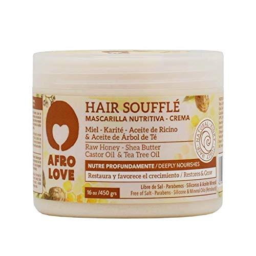 Afro Love Hair Soufflé - Masque Nourrissant pour Cheveux Bouclés et Cheveux Crépus avec le Miel, Beurre de Karité, L' huile de Ricin et l' huile D'arbre à Thé 450g Sans Silicone, Sans Parabène