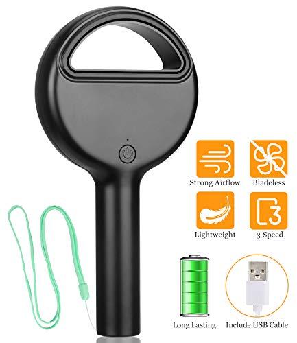 Cevapro Portable Fan, Bladeless Handheld Fan Quiet USB Rechargeable Small Fan Battery Operated Mini Personal Fan Desk Fan for Kids Girls Women Men Outdoor Travel, Office, Home (Black)