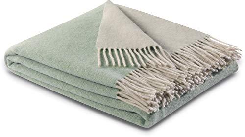 biederlack® samt weiche Kuschel-Decke Wool-Mix in Salbei-Creme I aus Wolle & Kaschmir I Öko-Tex Zertifiziert I Plaid in 130x170 cm | ideal als Tagesdecke und Sofa-Decke | Wohn-Decke in top Qualität