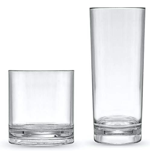 Roseone Kitchenware Drinking Glasses set of 8, Unbreakable Plastic Glasses, Vodka And Whiskey Glass Set, Highball, Rocks Style Plastic Tumblers - 4 Highball Glasses (11 oz) and 4 Rocks Glass (8 oz)