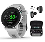 Garmin Forerunner 745 GPS Running and Triathlon Smartwatch Whitestone with Wearable4U Black Earbuds with Charging Power Bank Case Bundle