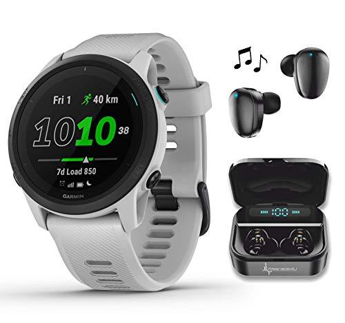 Garmin Forerunner 745 GPS Running and Triathlon Smartwatch Whitestone with Wearable4U Black Earbuds with Charging Power Bank Case Bundle