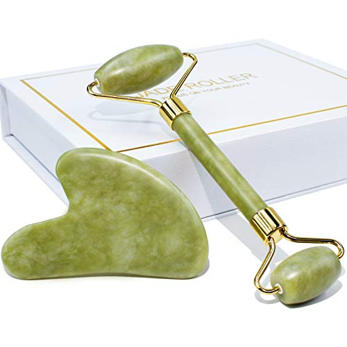 BAIMEI Jade Roller & Gua Sha Set Facial Beauty Tools Face Roller Skin Massager for Face, Neck and Eye Treatment Facial Roller for Skin Care Routine