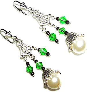 GREEN CRYSTAL AND PEARL CHANDELIER EARRINGS Silver Pltd Long Drops for Pierced Ears