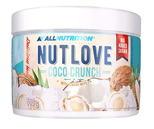 ALLNUTRITION NUTLOVE 500 g CRUNCH 1er pack, Peanut Butter Erdnussbutter, Kokosnusscreme mit knusprigen Mandeln, Ungesüßt, Kein Palmenfett, Mandelbutter