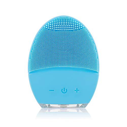 Silikon Gesichtsbürste Elektrisch, YUNCHI Y2 Tragbare Sonic Vibration Gesichtsreinigungsbürste, Aufladbare USB Reinigungsbürste Gesicht Silikon (Blue)