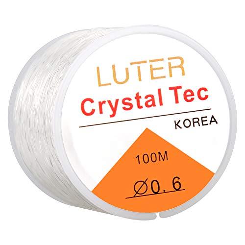 LUTER 0.6mm Filo/Lenza di Trasparente Elastico per Braccialetti Gioielli Collana Perline(328ft)