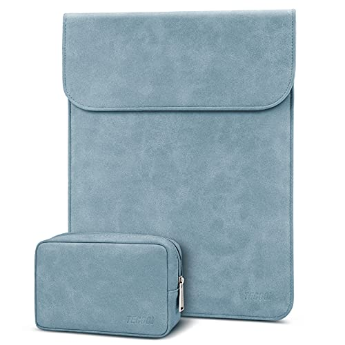 TECOOL 13 Zoll Laptop Hülle Tasche mit Zubehörtasche Faux Leder Schutzhülle für 2018-2020 MacBook Air 13 A1932/A2179/A2337,2016-2020 MacBook Pro 13,Dell XPS 13, Surface Pro X,MateBook 13, Dunst Blau