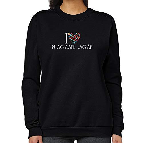 Teeburon I Love Magyar Agár Colorful Hearts Sweat-Shirt Femme