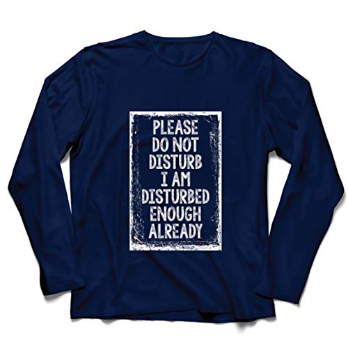 lepni.me Camiseta de Manga Larga para Hombre No Moleste el Regalo Divertido de la Cuarentena del Virus (Medium Azul Multicolor)