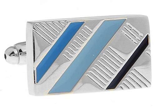 Beydodo Herren Edelstahl Manschettenknöpfe Hochzeit Blau Linien Silber Manschettenknöpfen Hemd Geschäft Geschenk mit Box