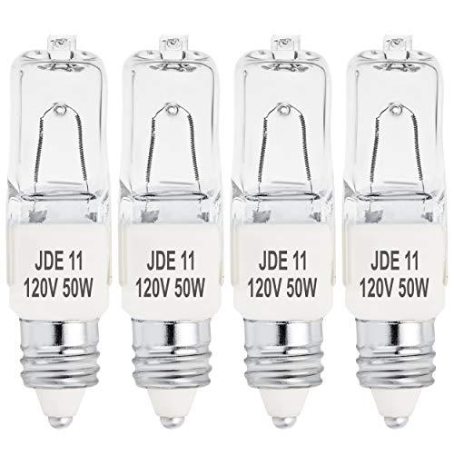 4-Pack JDE11 120V 50W Halogen JDE11 50W Bulb Warm White 50 Watt T4 E11 Bulb JDE 11 T4 50W for Chandeliers, Pendants, Table Lamps, Cabinet Lighting, Mini-Candelabra Base T4 Bulb, by BluexBulbs
