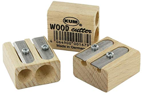 Kum 107.02.01 Wood 2-Hole Steel Blade Pencil Sharpener, Colors Vary