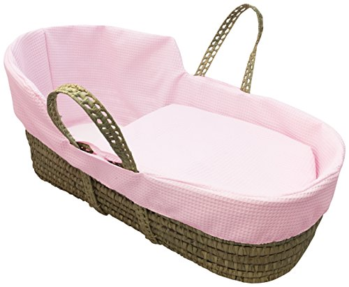Clair de Lune Simplicity Waffle High TopPalm Moses Basket (Pink)