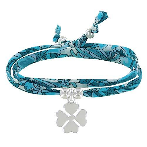 LES POULETTES BIJOUX - Bracelet Double Tour Lien Liberty et Trèfle Argent - Colors - Turquoise