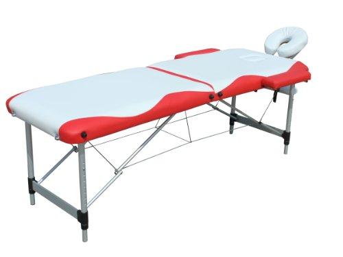 Melko Massageliege Profi 2 Zonen aus Aluminium, klappbar und höhenverstellbar, Weiß/Rot - inkl. Schutzhülle