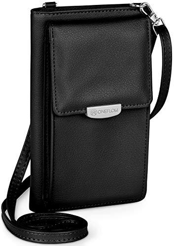 ONEFLOW Handy Umhängetasche Damen klein kompatibel mit alle Nokia Modelle - Handytasche zum Umhängen mit Geldbörse, Schultertasche Vegan Leder, Schwarz