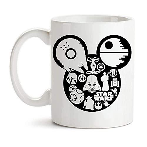 DJNGN - Taza de Star Wars, Mi-c-k-ey Mo-u-s-e, taza de café de cerámica de 11 oz/taza/vajilla, alto brillo