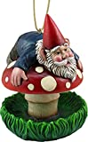 DWK - Bottom's Up! - Whimsical Gnome on a Mushroom Hanging Bird Feeder Fantasy Fairy Garden Home and Patio Decor Accent, 6.75-inch