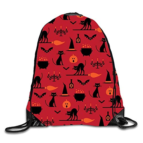 uykjuykj Coulisse Sacchetto,Zaino Coulisse Sacchetto, Human Skull Sackpack Drawstring Backpack Waterproof Gymsack Daypack for Men Women Red Kitty9 Lightweight Unique 17x14 in