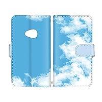 スマ通 Android One X2 国内生産 カード スマホケース 手帳型 HTC エイチティーシー アンドロイド ワン エックスツー 【A.ブルー】 青空 雲 vc-653