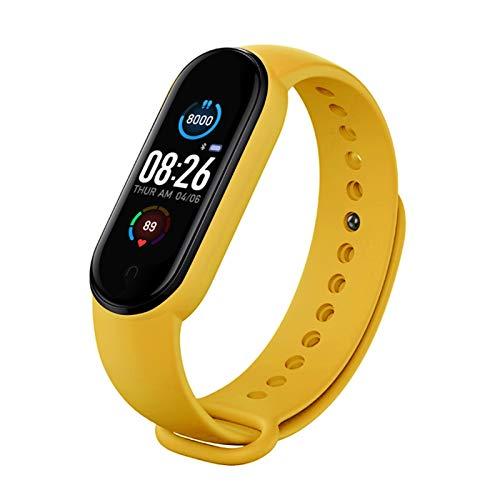 Pulsera inteligente Relojes inteligentes Reloj de ritmo cardíaco Pulsera inteligente Relojes deportivos Smart Band Smartwatch Android (color: amarillo)
