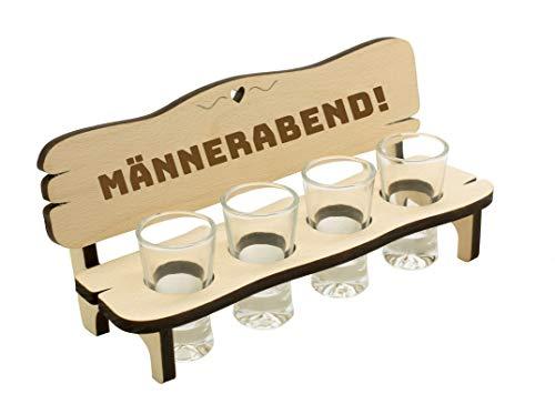 Spruchreif PREMIUM QUALITÄT 100% EMOTIONAL · Schnapsbank mit Gravur · Schnapsbank aus Holz · Schnapslatte mit 4 Gläsern · Geschenk Schnaps · Geschenke für Männer · Männerabend · Männergeschenke