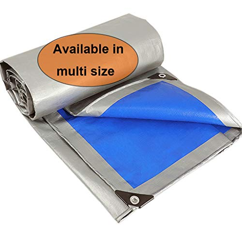 FU MAN LI Anti-UV Poly Tarps Hochleistungs-wasserdichte Plastikplane mit Ösen, Mehrzweck-Schutzplane Leicht, reißfest und reißfest für Außenanwendungen, Silber und Blau...