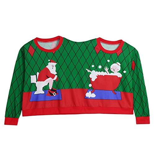 SHOBDW Mujeres para Hombre Suéter de Dos Personas Unisex Parejas Pullover Colorido Novedad Especial Lindo Feliz Navidad Regalo Blusa Invierno de Manga Larga Tops Camiseta Sudadera