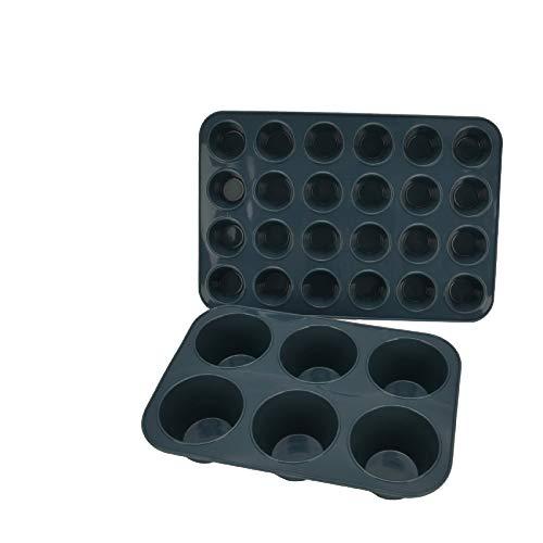 SUPER KITCHEN Muffinform aus Silikon für 6 Große und 24 Mini Muffins, Antihaft Muffinblech Antihaftbeschichtet Backblech Backform für Cupcakes, Brownies, Kuchen, Pudding (Grau)