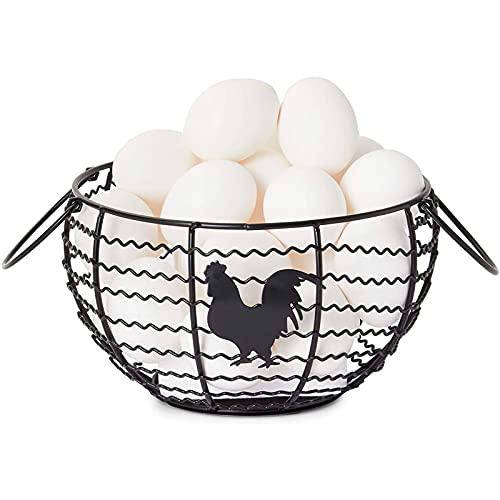 Wire Egg Basket, Farmhouse Kitchen Organizer (Black, 8.2 x 8.2 x 4.9 In)