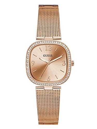 GUESS Reloj de cuarzo para mujer con correa de acero inoxidable, oro rosa, 15 (Modelo: GW0354L3)