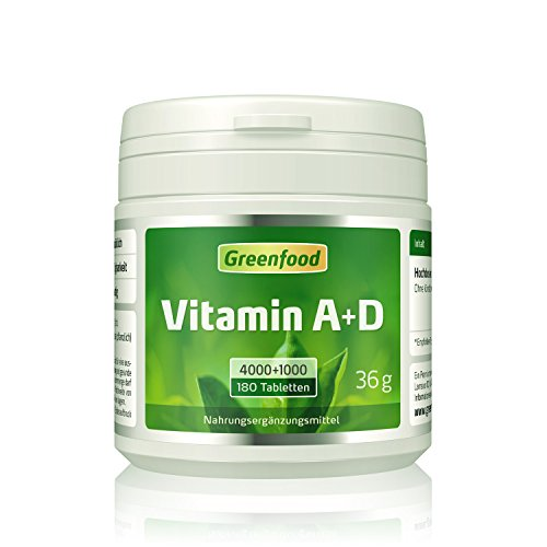 Vitamin A+D, 4000+1000 iE, hochdosiert, 180 Tabletten, vegan – Vitamin A für gute Sehkraft und Vitamin D für stabile Knochen und ein starkes Immunsystem. OHNE künstliche Zusätze. Ohne Gentechnik.