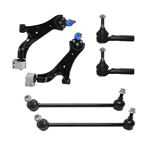 Detroit Axle - Complete 6pc Front Suspension Kit for Chevy Equinox Torrent Both (2) Front Lower Control Arm & Ball Joint, Both (2) Outer Tie Rod Ends, 2 Front Sway Bar Links