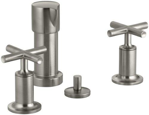 KOHLER K-14431-3-BN Purist Vertical Spray Bidet Faucet with Cross Handles, Vibrant Brushed Nickel