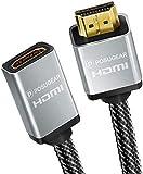 Posugear Cavo prolunga HDMI intrecciato maschio da nylon a femmina (4K a 60Hz) HDMI 2.0a / b 1.4a (Ultra HD 2160P, 3D, Full HD 1080P, HDR, ARC, Ethernet) 1M Oro