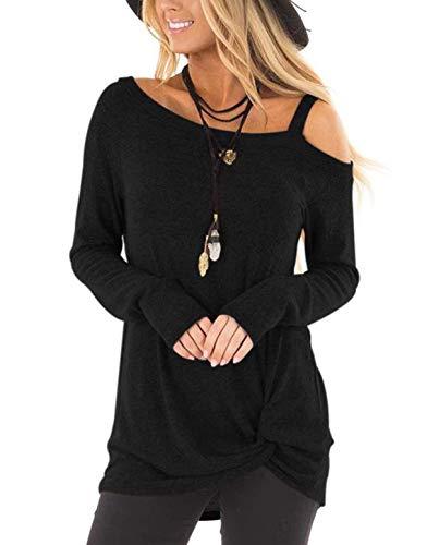 ZILIN Women's Cold Shoulder Shirt Long Sleeve Knot Front Tunic Tops (Black, Medium)