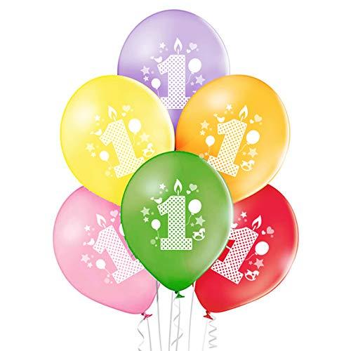 ocballoons 20 Palloncini Colorati 1° Primo Compleanno Biodegradabili Made in Italy Bimbi Addobbi e Decorazioni Kit per Feste Bambini Gonfiabili con Bombola a Elio