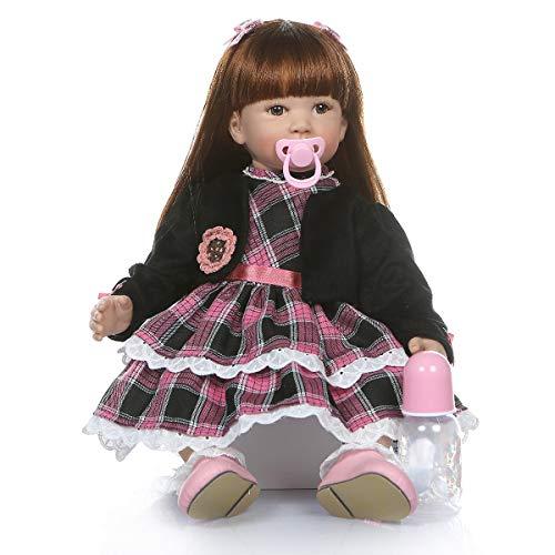 Terabithia 24 Pollici 60cm Realistico Big Size Capelli Lunghi Lisci Principessa Reborn Toddler Dolls in Silicone Vinile Soft Body farcito Bamboletta Appena Nata Bambola Look Real e Feel Real