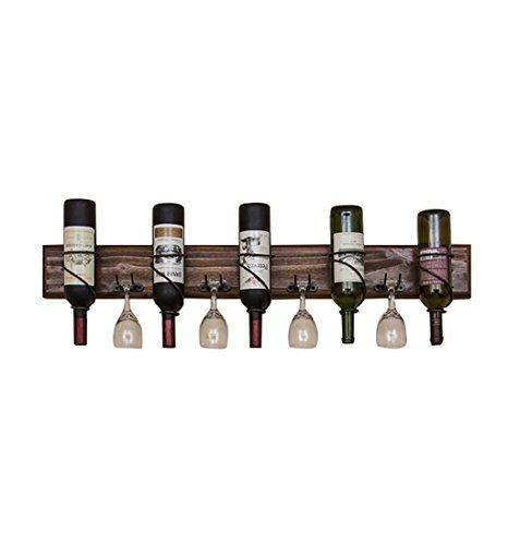 5 Botellas De Estantes De Vino Independientes Ledge Metal Estante De Pared De Madera LOFT Estante De Almacenamiento En Rack De Vidrio De Vino Montado En La Pared | Estante de botellas de vino cúbico |