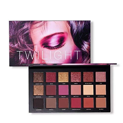 Jooayou 18 couleurs Twilight & Dusk Palette Ombres à paupières, 10 Matte + 8 Miroitante, Ombre à Paupières Pigmentable Mélangeable, Palette Ombres à Paupière Maquillage Cosmétique