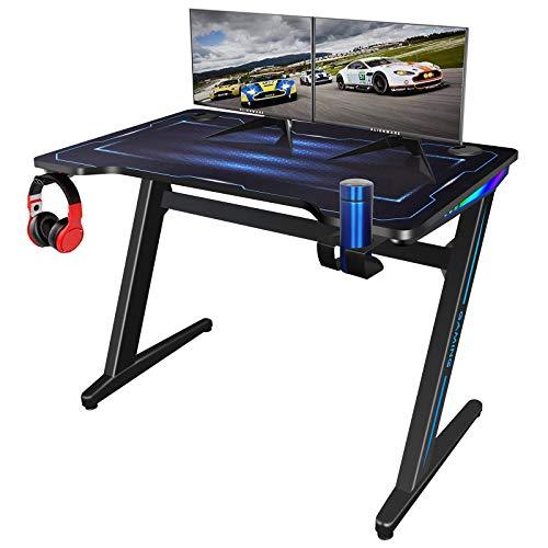 Bilisder Mesa Gaming Escritorio, Z Mesa PC Gamer con Luz RGB para Hogar, Mesa de Juegos con Alfombrilla de Ratón Grande, Desk Escritorio Ordenador con Portavasos y Gancho para Auriculares, 100 x 60 cm