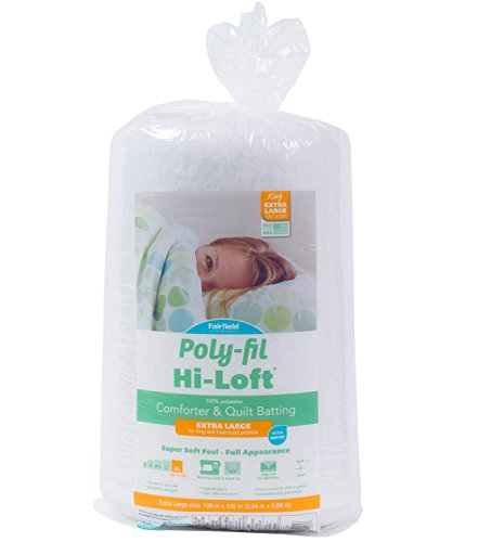 "Fairfield Poly-Fil Hi-Loft 100% Bonded Polyester Batting - King Size, 120"" x 120"", White"