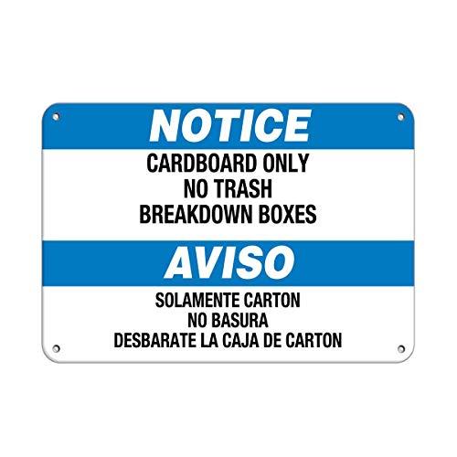 HUIOP Notice Cartón Solo No Papelera Cajas de Desglose Diseño Vintage Original Reglas de Barra de Metal Estaño Arte de Pared Señalización 8x12 pulgadas