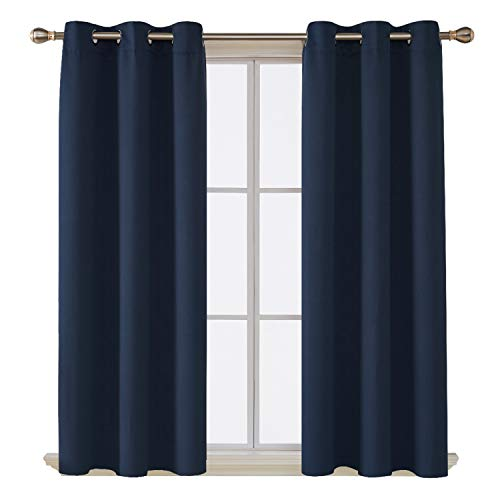 Deconovo Room Darkening Thermal Insulated Blackout Grommet Window Curtain Panel for Living Room, Navy Blue, 42x63 Inch, 1 Panel